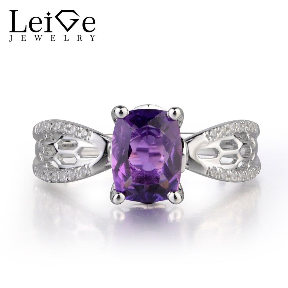 Leige bijoux améthyste naturelle pierre précieuse coussin coupe broche réglage fiançailles anneaux creux pour femme février pierre de naissance