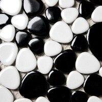 White Mixed Black Glosy Finished Ceramic Pebble Porcelain Mosaic Tiles Kitchen Backsplash Wall Bathroom Wall And