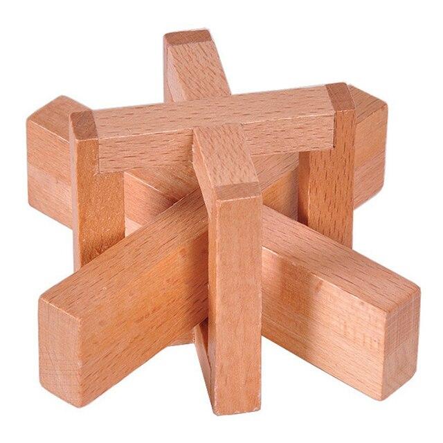 Hot Sale Wooden Siege Lock The Perplexing X In A Box Logic Puzzle