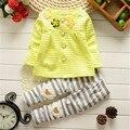 Yue Yue Кошка sp14 девочка одежда дети дети девушки длинные рукава красивый костюм устанавливает случайные дизайн футболки и брюки