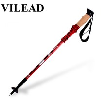 цена VILEAD Cane Folding Telescopic Walking Stick Hiking Pole Climbing Equipment Poles Nordic Walking Poles 7075 Aluminum 61-135 cm