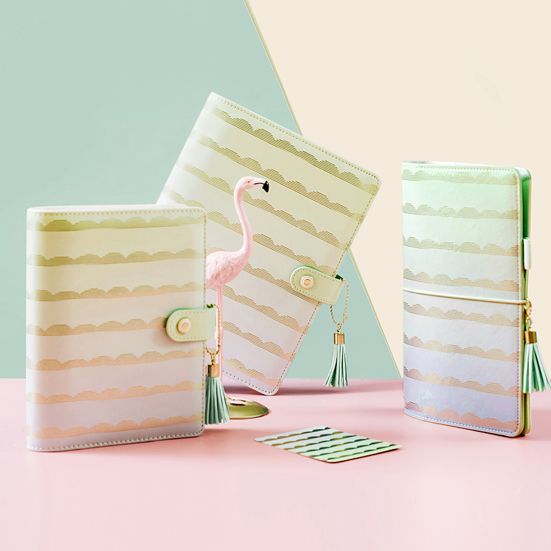 Lovedoki Tapered Stripes Spiral Planner Personal Diary Agenda 2018 Notebook Creative Trend Gift Stationery School Supplies never sweet pink diary a6 spiral notebook agenda 2018 personal weekly planner chancellory school supplies korean gift stationery