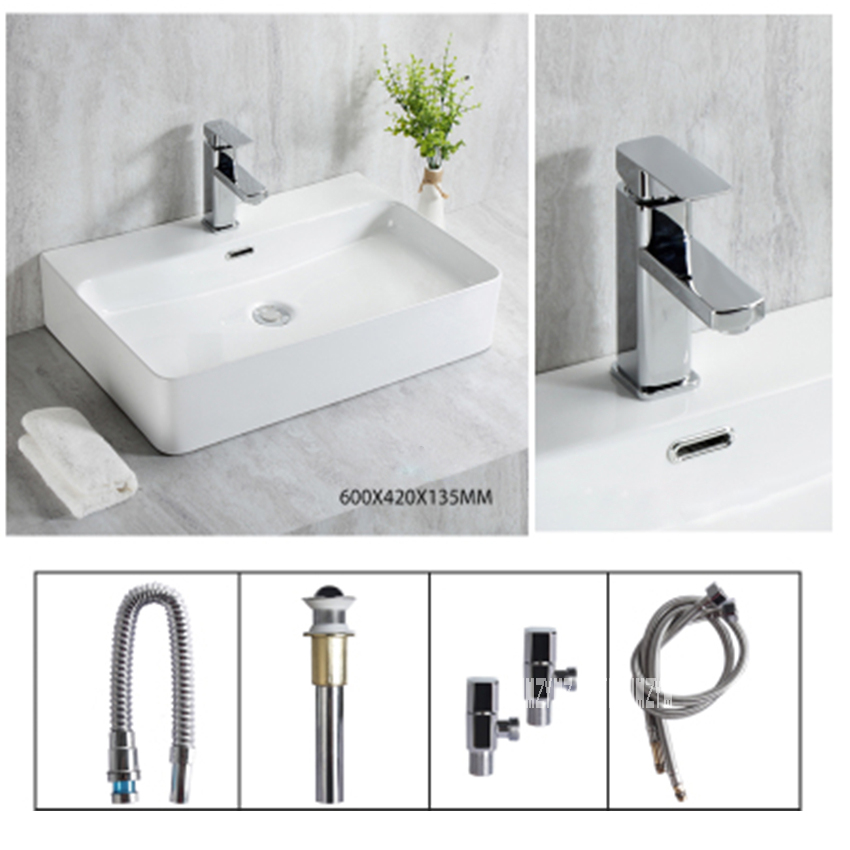 S660 Modern Simplicity Ceramic Countertop Sinks Rectangular Bathroom Sinks Artistic White Square Basin Bowl Household WashbasinS660 Modern Simplicity Ceramic Countertop Sinks Rectangular Bathroom Sinks Artistic White Square Basin Bowl Household Washbasin