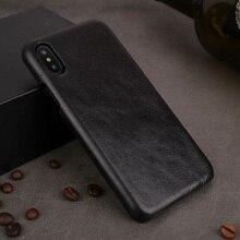 Solque için hakiki deri kılıf iPhone X XS Max XR 11 Pro telefonu lüks deri Ultra ince İnce sert mat kapak kılıf Vintage