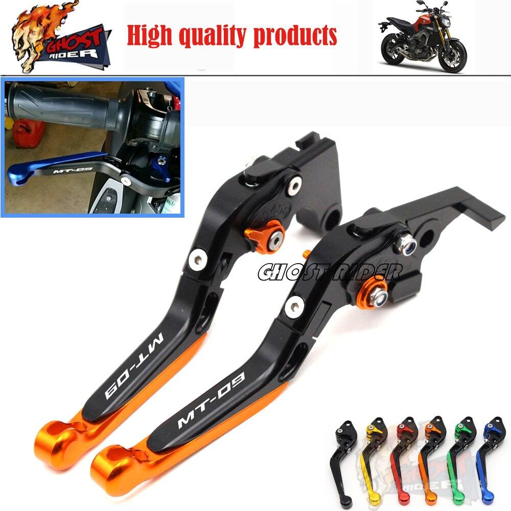 ФОТО For YAMAHA MT 09 MT-09 Tracer 2014-2015 CNC Aluminum Adjustable Folding Extendable Brake Clutch Levers LOGO MT-09 Orange