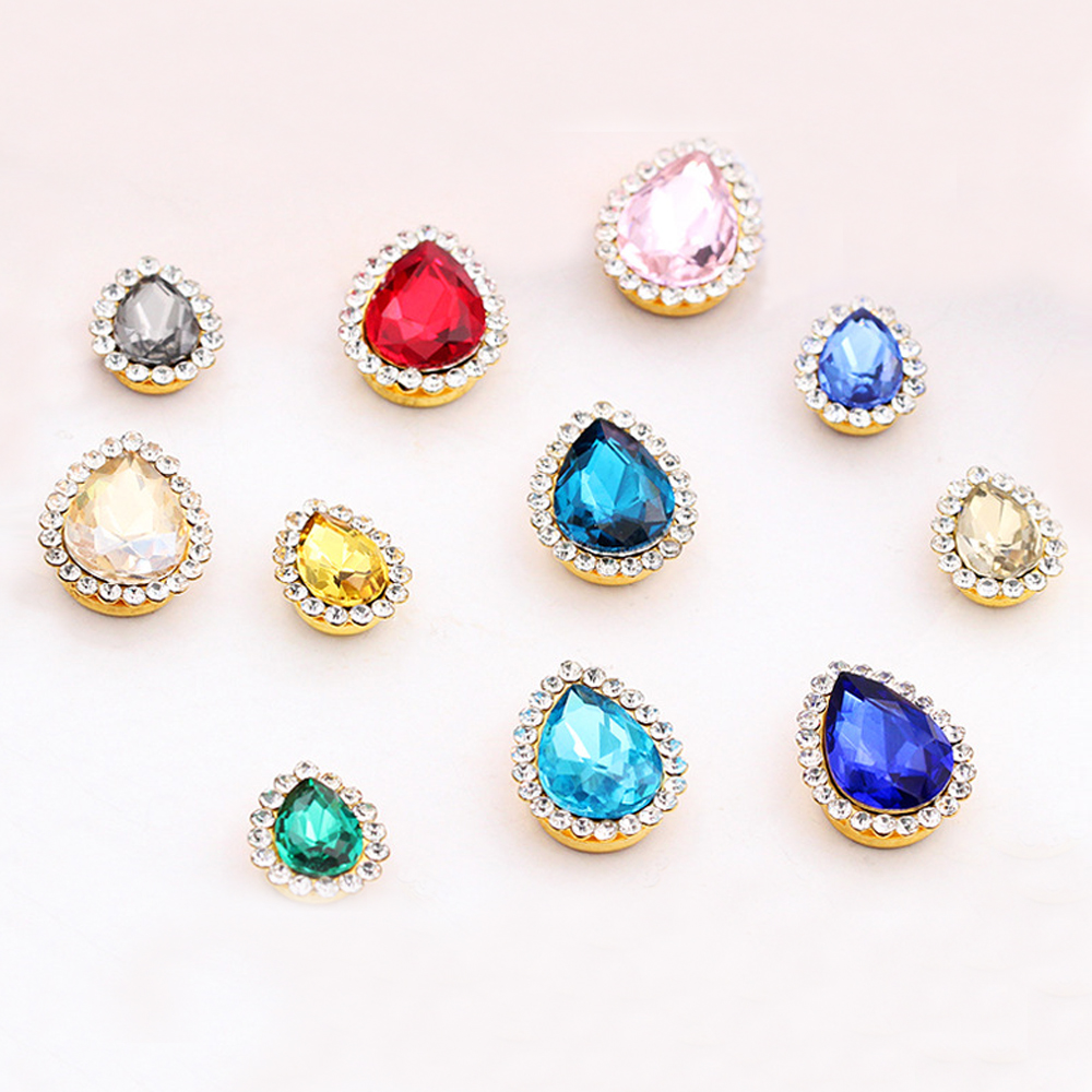 New Clothing Design Rhinestones Drop Shape 7x10mm Shiny Crystals Strass Copper Claw Non Hot Fix Sew On For Clothes