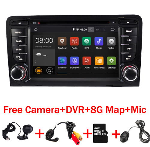 In Stock Android 7.1 Car DVD GPS Navigation for Audi A3 dvd player 2002 2011 stereo Audio auto multimedia screen 3G Bluetooth