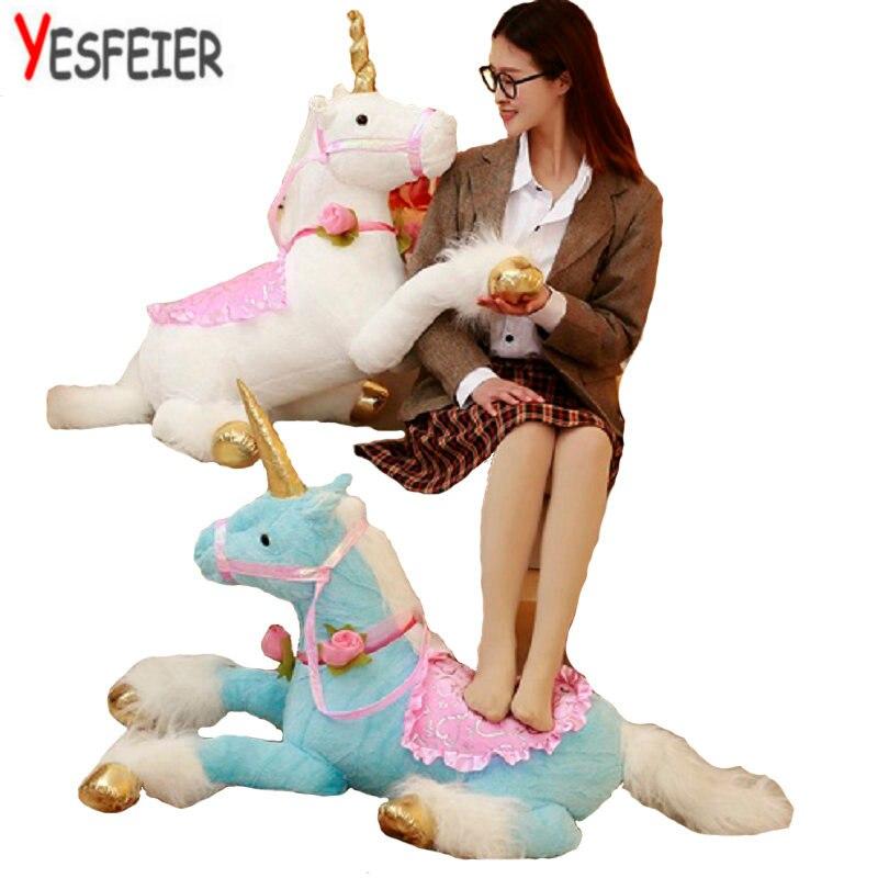 Rosa/bianco/blu Sveglio 90 cm Cavallo Unicorno peluche peluche peluche cavallo bambola di stoffa peluche ripiene animali regalo di compleanno