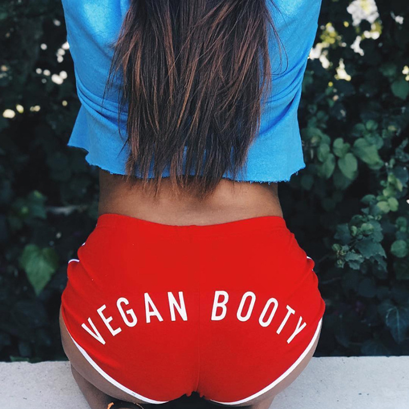 VEGAN BOOTY Letter Print Female Cotton Workout   Short   Pants 2019 New Summer Sexy Women Solid Color Skinny Fitness Push Up   Shorts