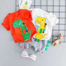ZWXLHH 2019 Summer Baby Girls Boys Clothing Sets Infant Clothes Suits Cotton Cartoon T Shirt Shorts Kids Children Short  Suit цена в Москве и Питере