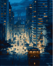 """DIY Painting By Number – Night in a Town (16""""x20"""" / 40x50cm)"""