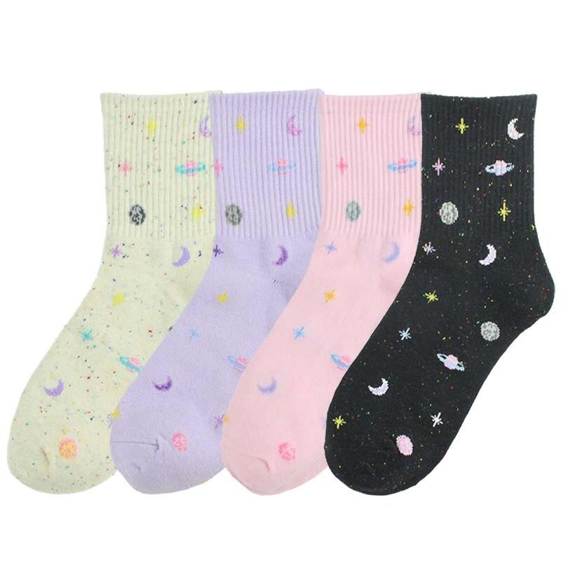 2019 New Fashion Cotton Fun Space Socks Korean Women's Astronauts Planet Socks Universe Novelty Short Paragraph Funny Socks