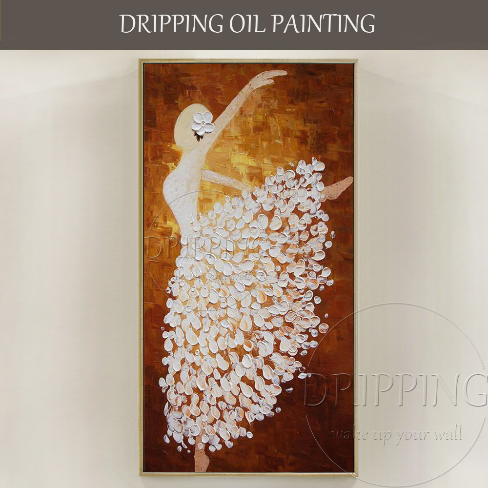 Luxury Wall Artwork Hand-painted Thick Oil Abstract Ballerina Painting Knife Ballet Dancer