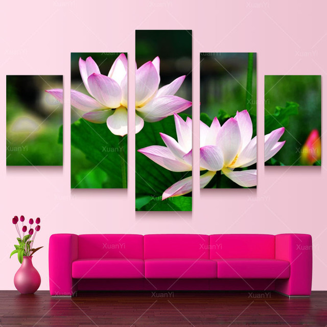 5 Panel Flower Painting Canvas Cuadros Decoracion Art Wall Pictures ...