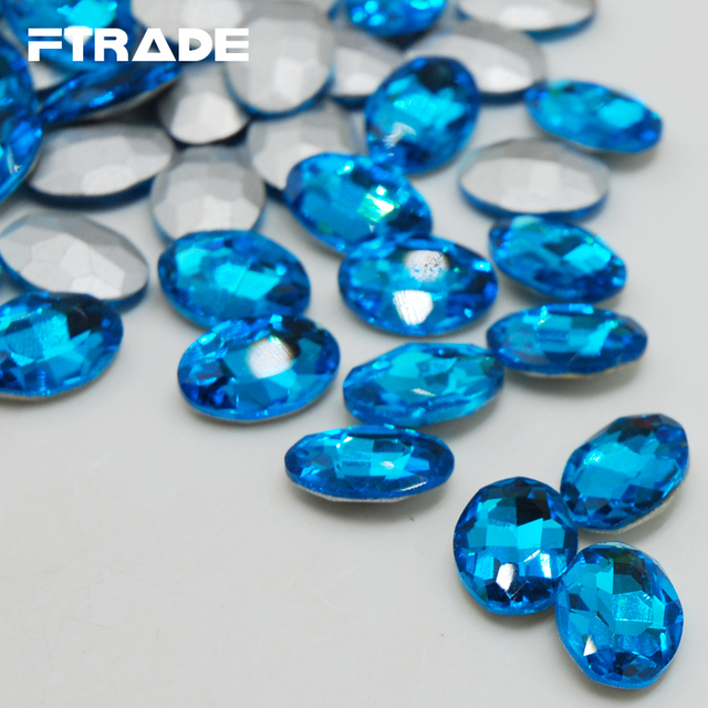 Aquamarine Color Glass Crystal 4x6mm-20x30mm 8 Sizes Oval Point Back Fancy  Glue on Stone for Jewerly Decoration Free shipping ead0dd796729