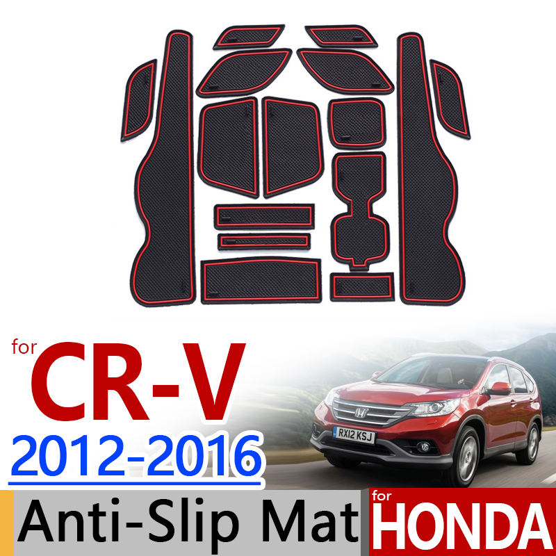 for Honda CR-V 2012 - 2016 Anti-Slip Rubber Cup Cushion Door Mat 3 Color CRV CR V 2013 2014 2015 Accessories Car Styling Sticker for mitsubishi outlander 2013 2014 2015 2016 accessories 3d rubber car mat anti slip mat interior door pad cup mat 14pcsoriginal