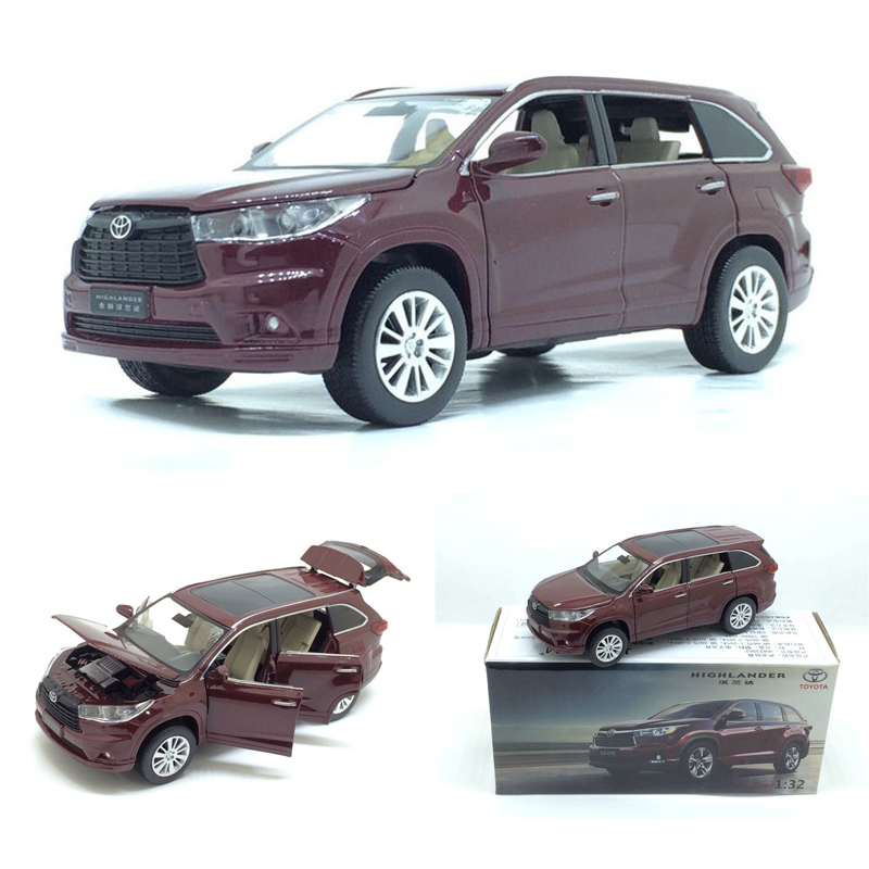New 1:32 TOYOTA Highlander Alloy Diecast SUV Car Model Toys For Kids Christmas Gifts Toys Collection Free Shipping