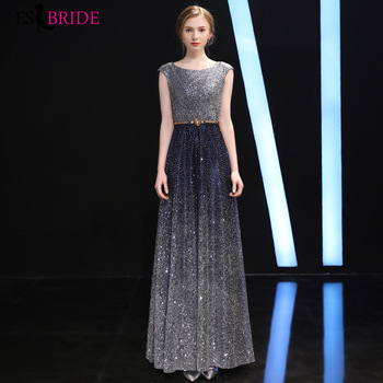 Starry Sky Gorgeous Women's Elegant Evening Dresses Round Neck Sleeveless Backless Long Formal Evening Party Dreseses ES1369