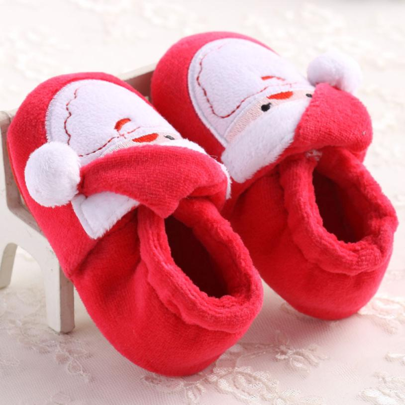 Toddler Infant Santa Claus Baby Girl Boy First Shoes For Christmas Party