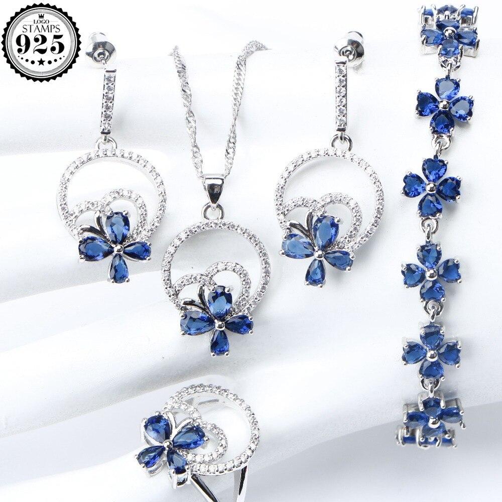 Necklace Earrings Jewelry-Sets Pendant Silver Wedding Zirconia Gift-Box Blue Women