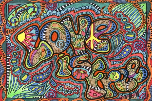 Psychedelic Typography Love Hippie Colorful Drawing Home
