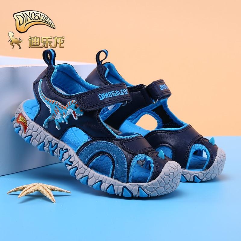 DINOSKULLS Children's Summer Shoes For Boys Dinosaur Closed Toe Sandals Kids 2019 Beach Sports Shoes T-rex Anti-Slip Eu #27-#34