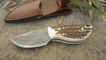Damascus steel blade Outdoor Camping knife Portable Survival Hunting knives with leather sheath knives fixed EDC knife