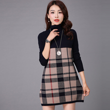 Brand British Style Plaid Dress Ladies Turtleneck Sweater Dress Fashion Slim Checked Knitted Dress Women 3Color