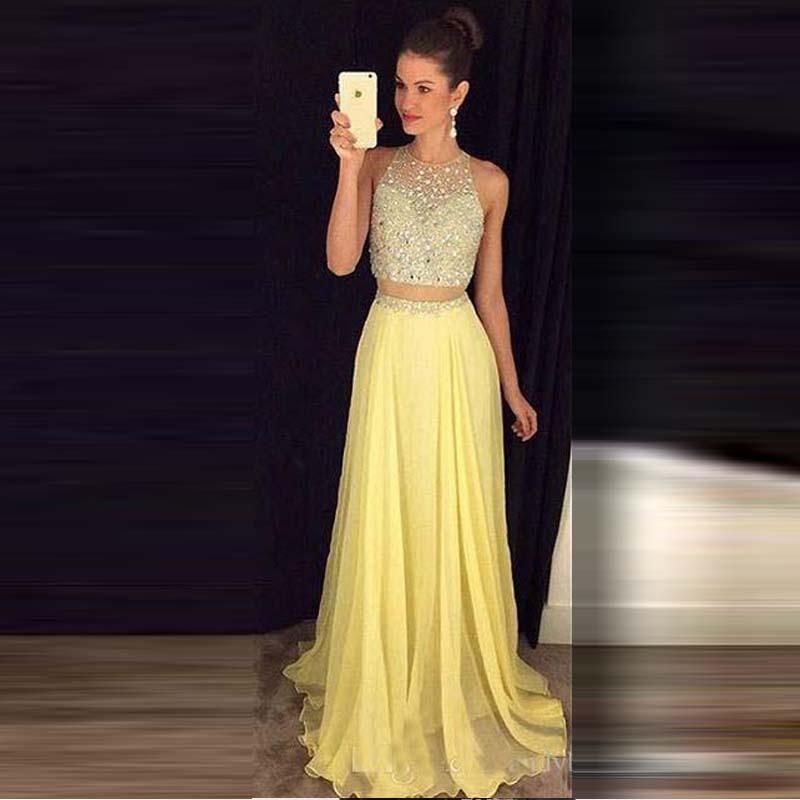 Yellow Two Piece Prom Dress