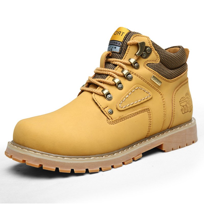 Lace-Up Men Fashion Boots EU 38-44 Durable Rubber Sole Man Nubuck Leather Ankle Shoes Brown / Yellow