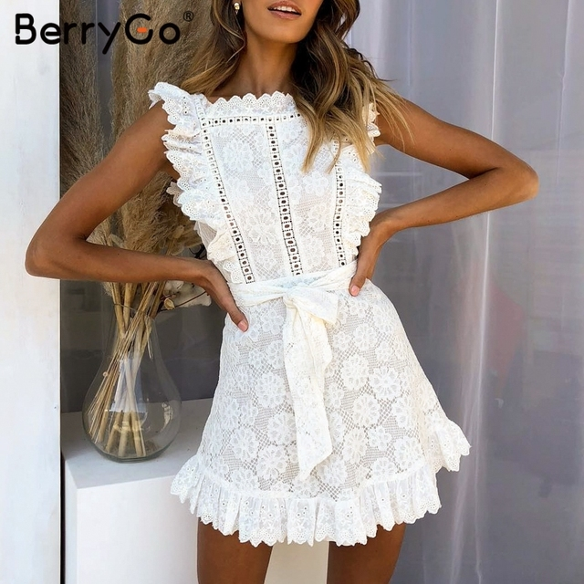 BerryGo Elegant embroidery lace women dress Hollow out lining sashes ruffled white summer dress Slim sexy party dress vestidos