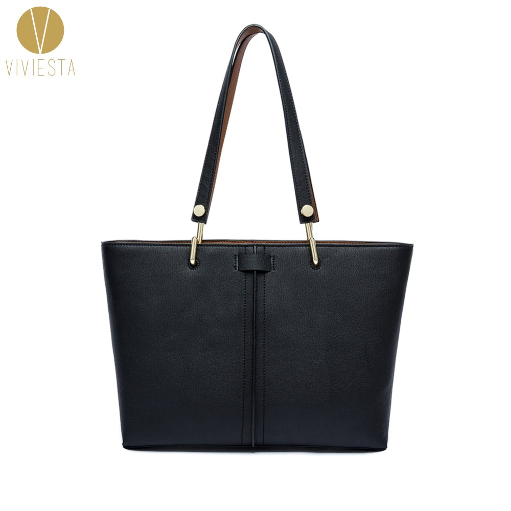 REAL GENUINE LEATHER LARGE SHOPPING TOTE - Women's 2018 Fall Winter Famous Fashion Brand Top Handle Shopper Shoulder Bag Handbag genuine leather canvas garden party tote women famous fashion brand casual daily top handle shopping shoulder bag handbag 30cm