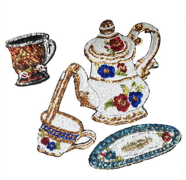 3 шт. набор чашка чайник блестками патч для одежды пальто, DIY аксессуары для одежды украшения блестки вышивка аппликация патчи