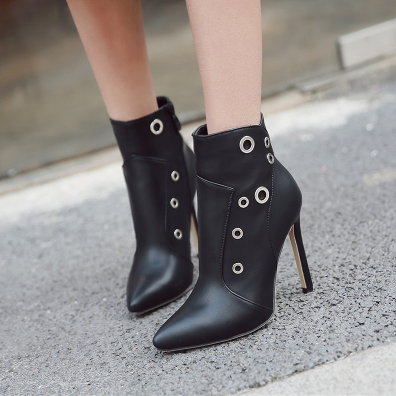 04d31bd0a73c MeiLiKeLin Fashion Motorcycle Boots Women Autumn winter boots high heel  Leather Booties Metal Ring Pointed Toe Ankle Boots Black-in Ankle Boots  from Shoes ...
