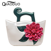 QIAODUO New Spring Summer Womens Bag Fashion Big Flower Vintage Handbags Crossbody Bags For Women Patent