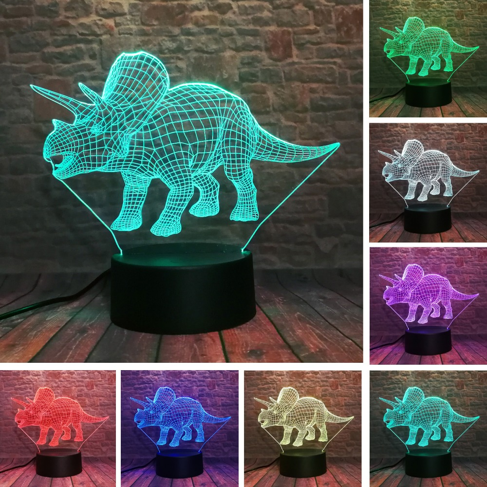 Triceratops Dinosaur 3D Illusion Lamp 7 Color Change Remote Touch LED Night Light Kids Lampara Baby Sleeping Decor Xmas Gifts