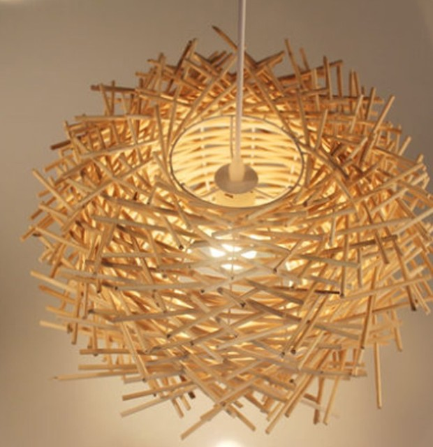 Modern hand made pure rattan wooden stick bird nest pendant lamp suspension light home lighting