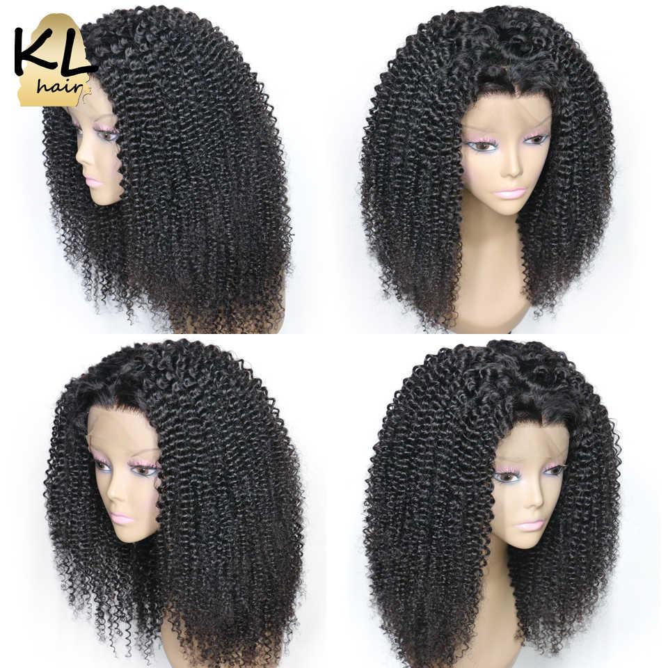 250% Плотность фронта шнурка человеческих волос парики для черных женщин монгольские волосы remy кудрявые вьющиеся волосы фронта al парики с волосами младенца KL Hair