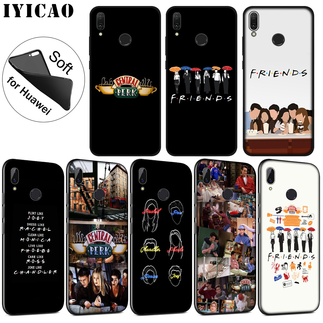 IYICAO Friends TV Soft Silicone Phone Case for Huawei P30 P20 Pro P10 P9 P8 Lite Mini 2017 2016 2015 P smart Z 2019 Cover image