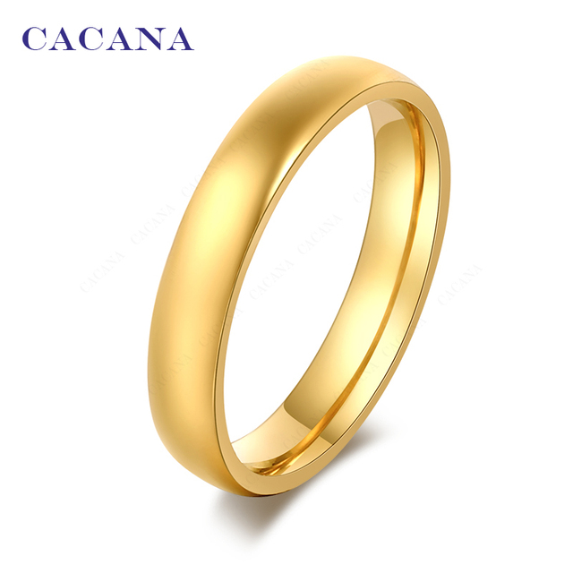 CACANA Titanium Stainless Steel Rings For Women Smooth Fashion Jewelry Wholesale
