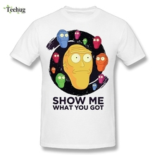 цена на Rick And Morty T-shirt Show Me What You Got T Shirt 2018 New Arrival Homme Tee Camiseta Wholesale