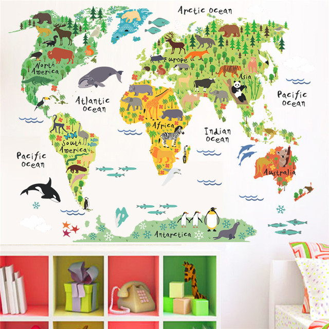 Cartoon Animals World Map Wall Stickers For Kids Rooms Office