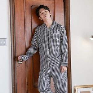 Image 2 - Lovers Pajamas Cotton Long Sleeves Autumn Women white BlackPlaid Pajama Set  Home Wear Casual Pyjamas plus size M XXL for women