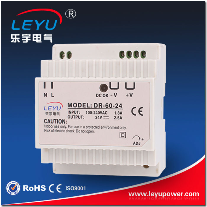 цена на 24vdc 230vac din rail power supply for led/telecom site DR-60-24 2.5A 60w
