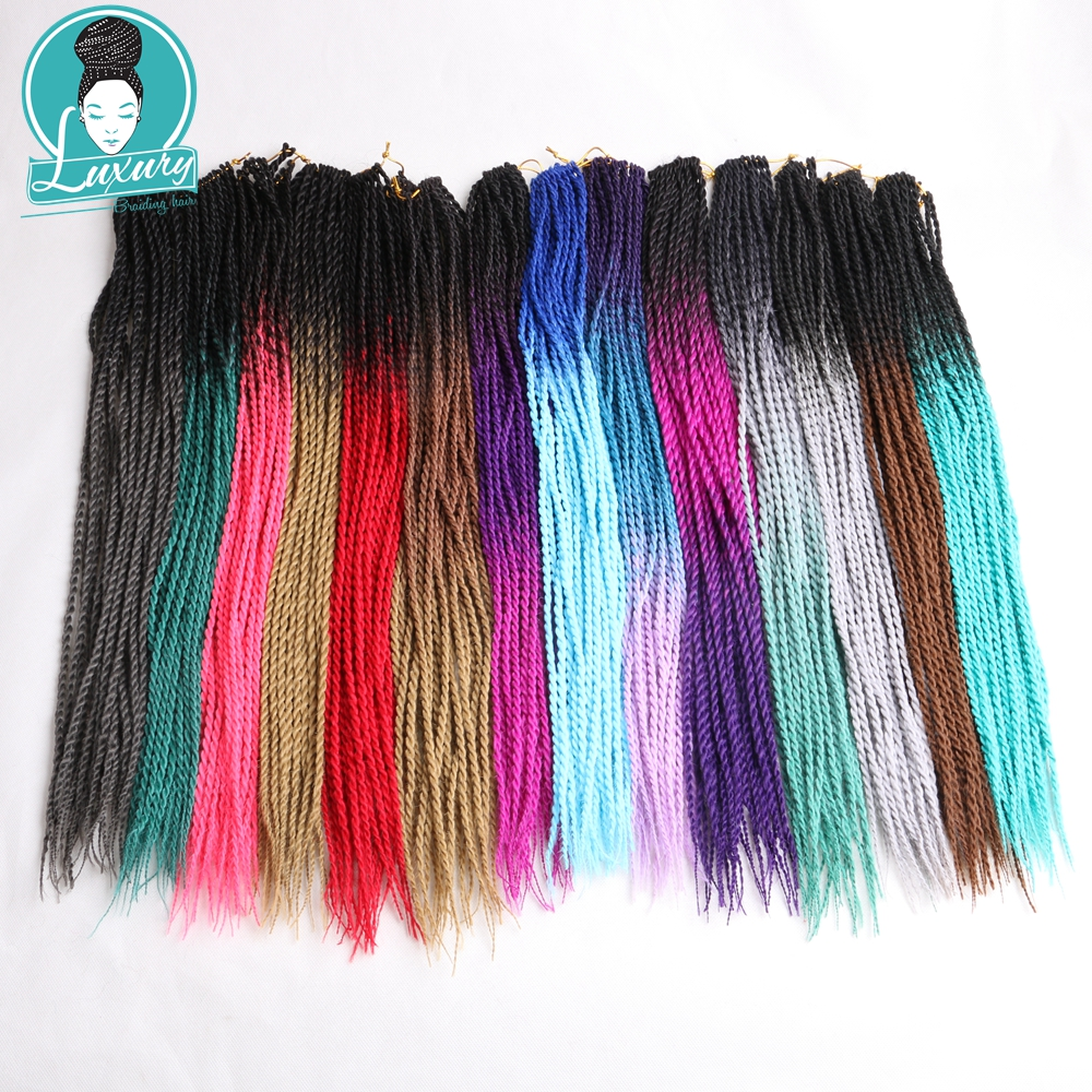 Luxury For Braiding 17 different Colors Synthetic Hair Pieces Ombre Senegalese Twist Hair Crochet braids 10packs 24 Roots/pack