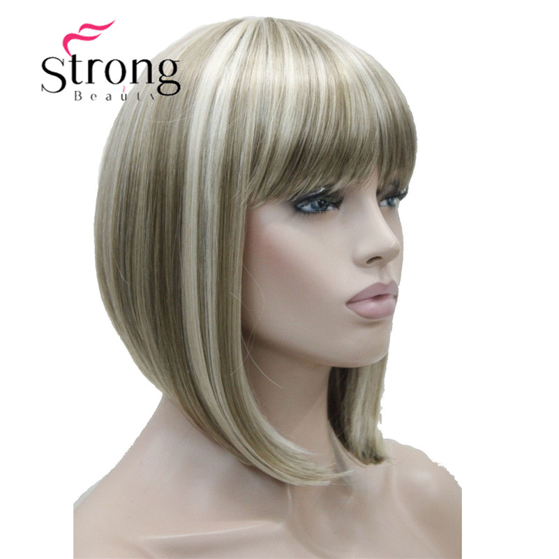 StrongBeauty Short Straight Blonde Highlighted Bob With Bangs Synthetic Wig Black Brown Red Women's Wigs COLOUR CHOICES