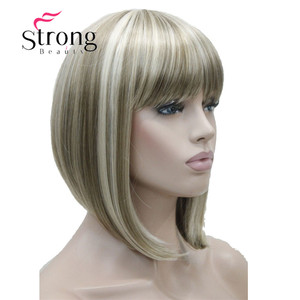 Image 1 - StrongBeauty Short Straight Blonde Highlighted Bob with Bangs Synthetic Wig Black Brown Red Womens Wigs COLOUR CHOICES