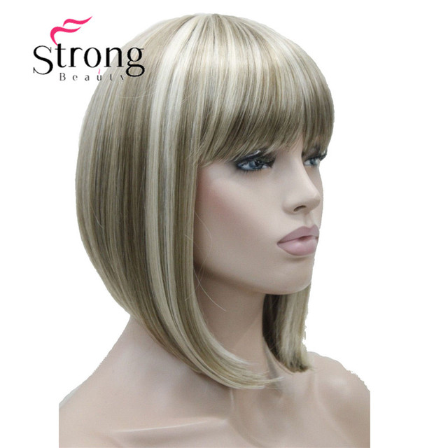 StrongBeauty Short Straight Blonde Highlighted Bob with Bangs Synthetic Wig Black Brown Red Womens Wigs COLOUR CHOICES