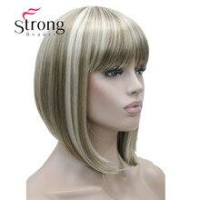 StrongBeauty peluca sintética con flequillo para mujer, pelo corto, liso, Rubio resaltado, Bob, negro, marrón, rojo, opciones de color