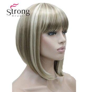 Strongbeauty Pendek Lurus Rambut Pirang Disorot Bob dengan Poni Sintetis Wig Hitam Coklat Merah Wanita Wig Warna Pilihan